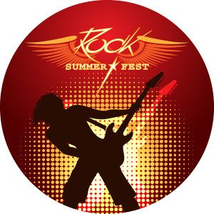 Silhouette of musician playing guitar rock and roll design